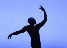 Silhouette with a blue background