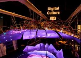 Purple lights with text ASU Digital culture