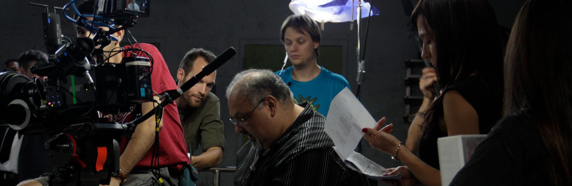 Film students and teachers behind camera