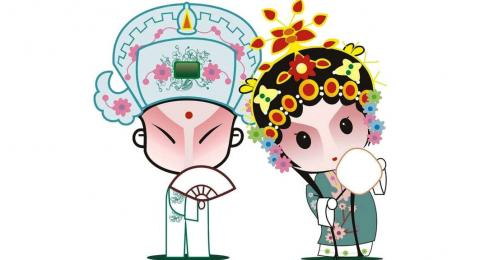 illustration of man and woman in traditional Chinese clothing