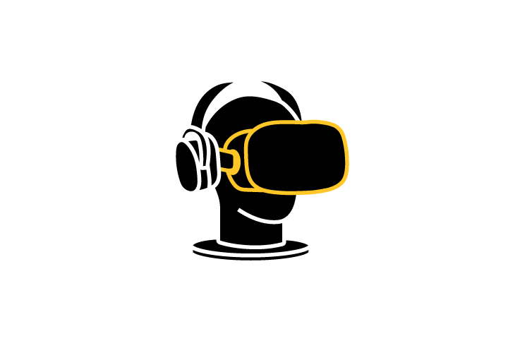 illustration of vr headset on mannequin head