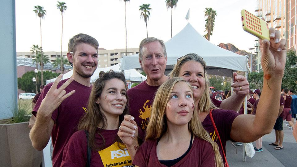 a family at ASU football game