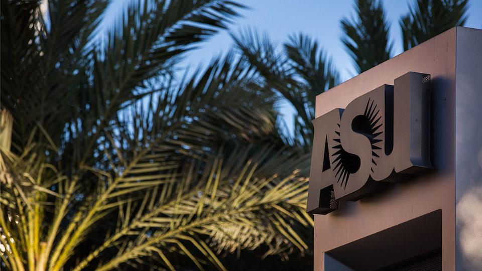 Palm trees and an ASU sign