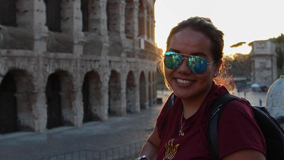 ASU student outside the Colosseum