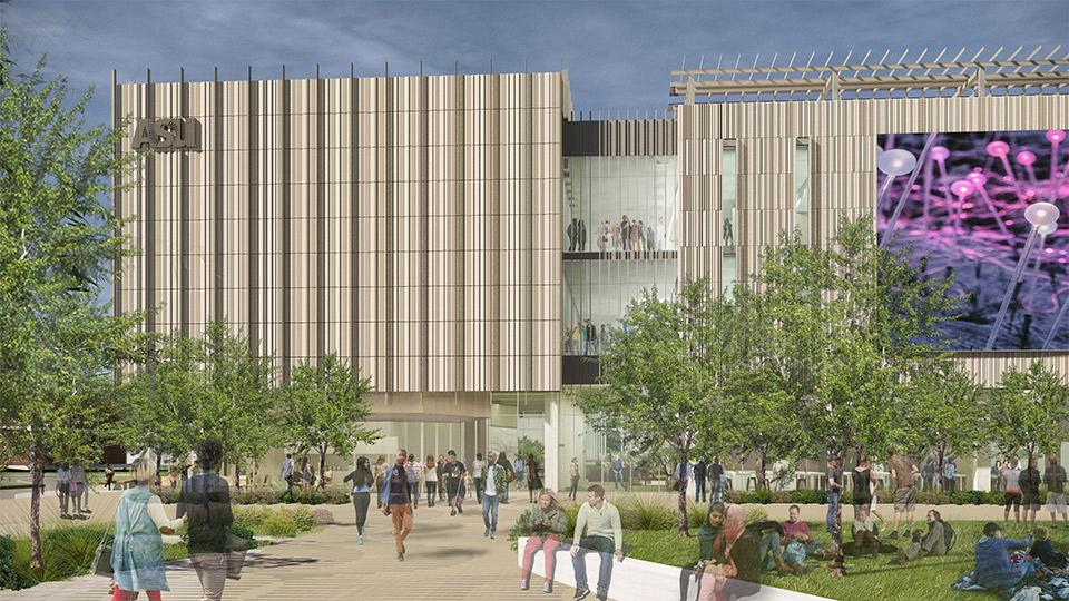 Illustration of an ASU building in Mesa with people