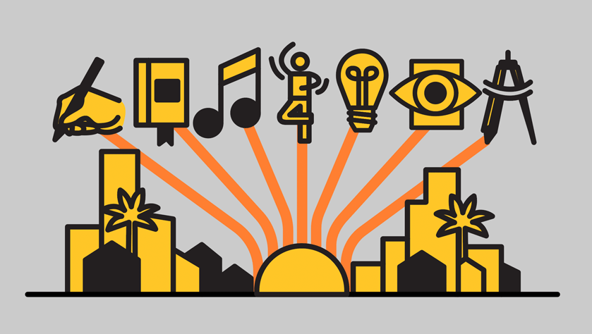 illustration representing a variety of creative mediums (writing, music, dance, design, etc.) with lines drawing them into a city scape