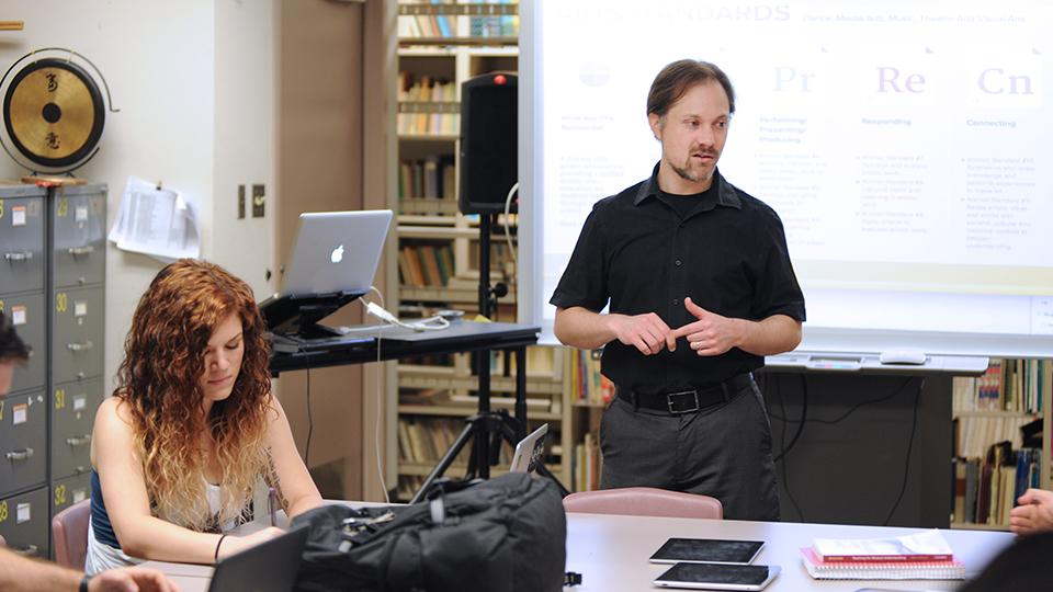 College faculty teaching in a classroom