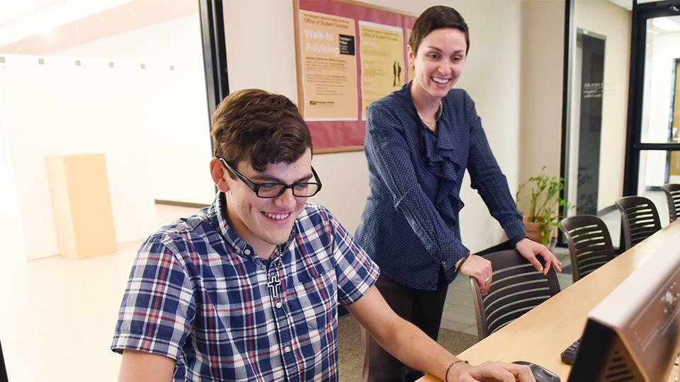 Herberger Institute advisor and student working with computer