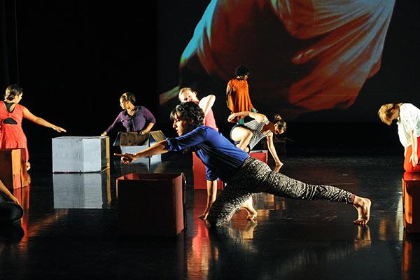 Dance students performing