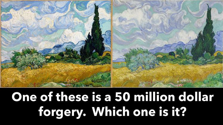 Two Van Gogh paintings side-by-side. One of these is a 50 million dollar forgery.